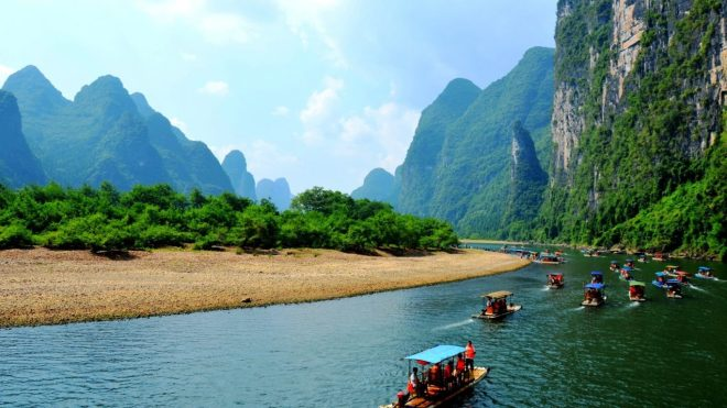 Nature Boats Rivers Panoramic Mountains View China River Fullscreen Wallpaper
